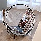 SH-shujia Nordisches einfaches Schmiedeeisen-Zeitschriften-Gestell kreatives Tischplatten-Zeitschriften-Gestell-kleines Bücherregal (Farbe : SCHWARZ)