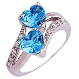 YIDIANIDAN Women's Double Heart Ring Unique Engagement Created Mystic Rainbow Eternal Promise Ring 11 Waterblue