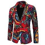 QUICKLYLY Trajes Hombre Chaquetas Charm Encanto Casual Un Botón Apto Fit Suit Traje Blazer Abrigo Tops Fiesta Lentejuelas Chaqueta Esmoquin Estampada Manga Larga Cardigan(Multicolor,XXXL)