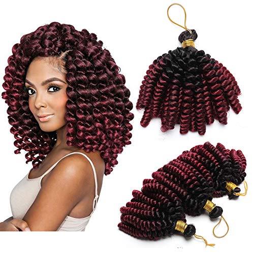 Extension Capelli Corti Ricci Marley Bob 15cm Treccine a Crochet Tessitura Matassa Sintetica Spirale 1 Bundle Braiding Hair 60g - Nero ombre Rosso Vino