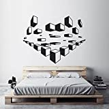 ASFGA Geométrico Tridimensional Cuadrado Moderno decoración del hogar Dormitorio Abstracto Minimalista Arte Etiqueta de la Pared decoración de Vinilo Sala de Estar Mural Espacio Amor 55x42cm