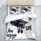 Juego de Funda nórdica, póster de avión Retro Inspirado en Bon Voyage Lets Travel Fly Vintage, Juego de Cama de Estilo Moderno Informal 3 Piezas