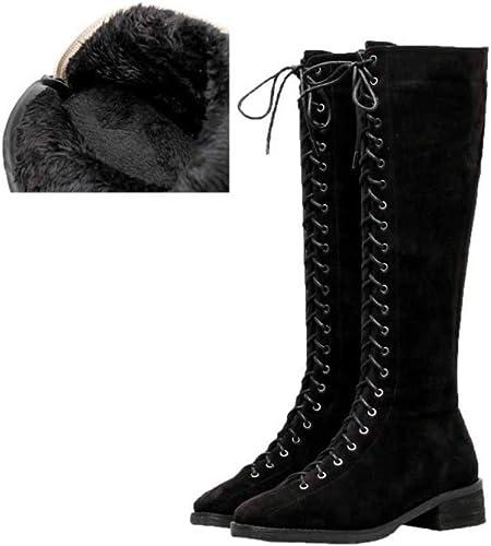 Damas De mujer Tacón Bajo Plano Invierno Cordones De Montar botas Sobre La Rodilla Mocasines zapatos Deportivos Al Aire Libre