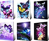 6 Pack 5d Full Drill Diamond Painting by Numbers Kits for Adult Kids Butterfly Home Wall Decor, Birthday Christmas Housewarming Gift