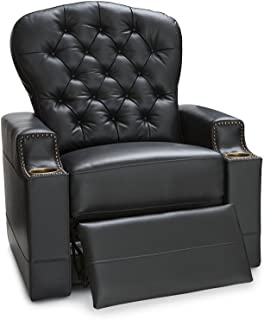 Seatcraft Imperial Leather Home Theater Seating Power Recliner with Tufted Backrest, Nailhead Accent Arms, USB Charging and Cup Holders, Black