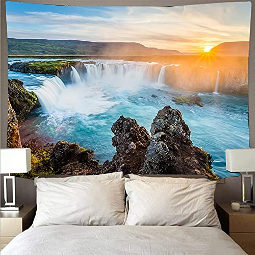Montaña ondulada bosque y lago paisaje tapiz arte psicodélico colgante de pared toalla de playa manta tapiz A1 180x200cm