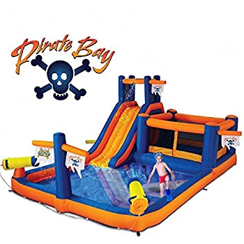 Blast Zone Pirate Bay - Inflatable Water Park with Blower - Large - Slide - Climbing Wall - Bounce House - Tunnel