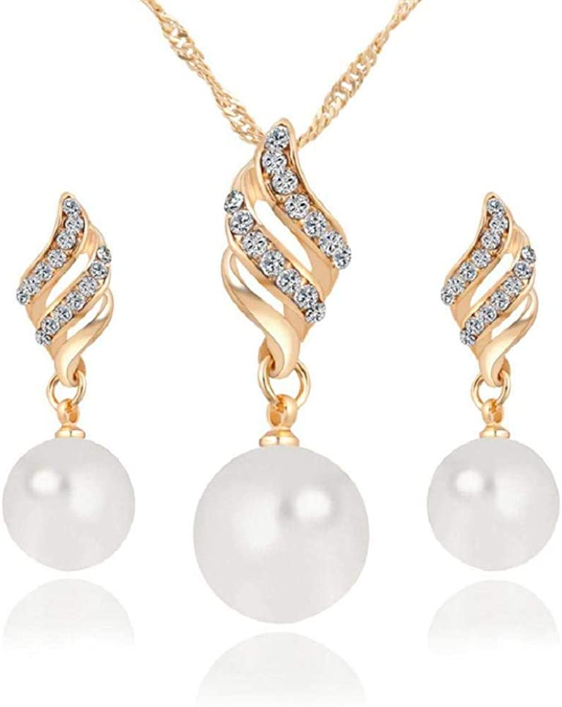 Noopvan Deals Necklace+Earrings Jewelry Set Womens Luxury Spiral Shaped Pearl Stud Earrings&Necklace Jewelry
