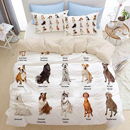 227 Juego de funda de edredón Super King, un grupo de quince perros de raza familiar de tamaño mediano, dormitorio de 3 piezas de edredón de microfibra, cierre de cremallera con 2 fundas de almohada.