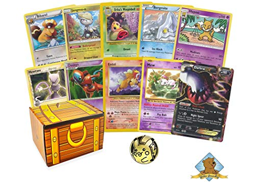 100 Assorted Pokemon Cards: Features 4 Legendary and 1 EX or GX Ultra Rare - All Cards are Authentic - Includes Golden Groundhog Deck Box and a Collectible Coin!