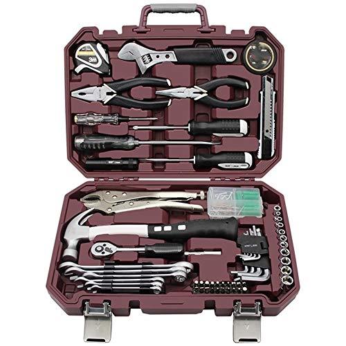 Juego de herramientas de 63 piezas para caja de herramientas, combinación manual de múltiples funciones, juego de gestión de mantenimiento diario familiar (color rojo)