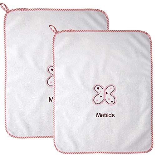 Coccole- Set asilo con nome personalizzato (Asciugamani, Farfalla rosa)