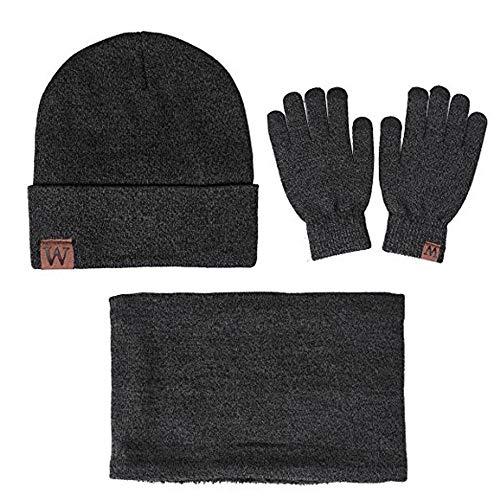 Kfnire accessori di abbigliamento unisex, cappello beanie caldo invernale + sciarpa + guanti di tocco dello schermo (grigio)