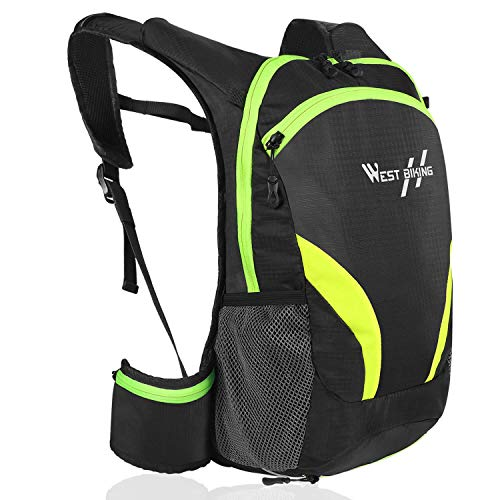 WESTGIRL Bike Backpack, Waterproof Cycling Backpack 15L, Bicycle Rucksack Bag Pack Reflective Breathable, Outdoor Sports Daypack with Helmet Bag for Riding Running Hiking Camping Trekking (Green-1)
