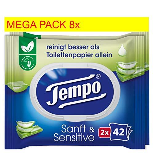 Tempo zacht en gevoelig, vochtig toiletpapier reuzenverpakking (16 verpakkingen x 42 doekjes)