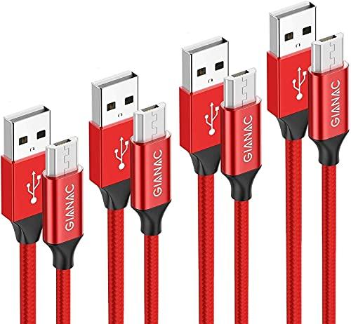 Cavo Micro USB [4Pezzi 0.5M1M 2M 3M] Nylon Cavo USB Micro USB Android Trasferimento Dati e Ricarica Rapida cavo Compatibile con Samsung S7/S6/S5/J7/J5, Huawei P Smart 2019/ P8 P9 lite