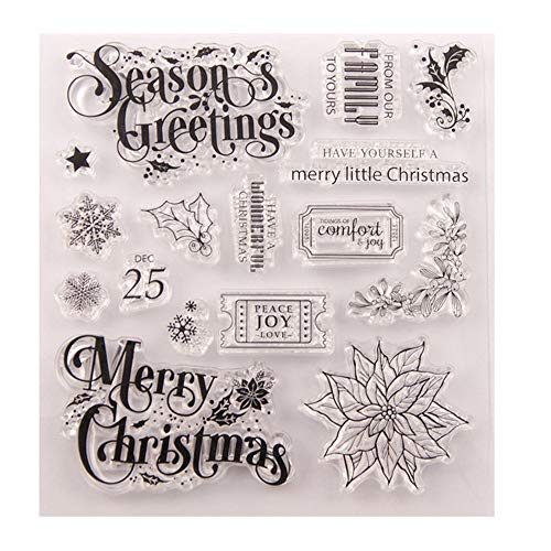 Merry Christmas Season's Greeting Snowflakes Berry Branch Snowflake Clear Stamps for Christmas Cards Making Decoration Clear Stamps or Scrapbooking Paper Craft Tools