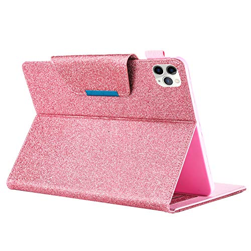 iPad Pro 11 Case 2020 & 2018 with Pencil Holder,Support Apple Pencil 2 Charging Glitter Bling Folio Stand Auto Wake/Sleep Shiny PU Leather Protective Cove for iPad Pro 11 Inch 2020/1st Gen 2018 (Pink)