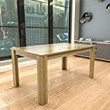 Vida Designs Medina 6 Seater Dining Table MDF Wood Rectangle Modern Kitchen Dining Room Furniture Unit, Oak