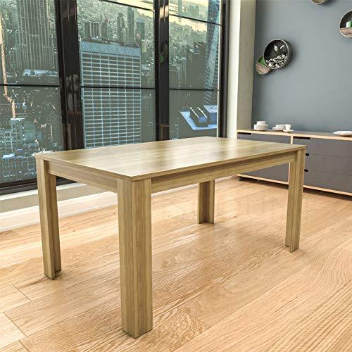 Vida Designs Medina 6 Seater Dining Table MDF Wood Rectangle Modern Kitchen Dining Room Furniture Unit, Oak