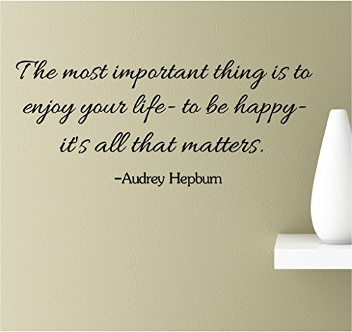 The Most Important Thing is to Enjoy Your Life- to be Happy- It's All That Matters. Audrey Hepburn Vinyl Wall Art Inspirational Quotes Decal Sticker