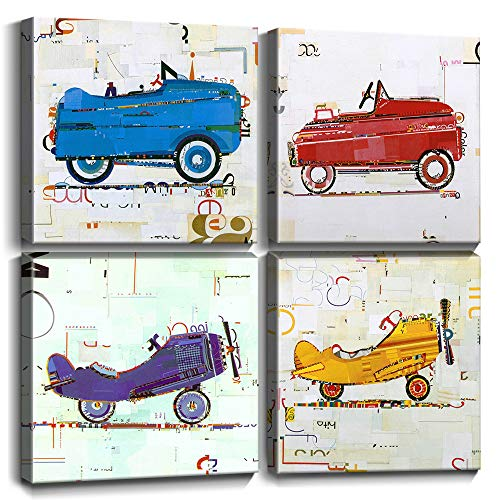 Toy Car Wall Art Cute Cartoon Airplane Canvas Prints Hand Painted Style Painting Pictures Framed Artwork Boys Kids Room Decor Gifts Children's Playroom Nursery Decoration 12 x 12 Inch 4 Panels