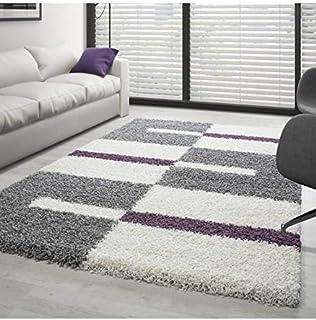 Carpettex Teppich voor woonkamer, shaggy design, hoogpolig, verschillende kleuren en maten Verkrijgbaar – grijs-wit-paars,...