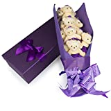 SCS Direct Teddy Bear Plush Flower Gift Bouquet with 12 Stems - Cute Alternative to Flowers, Candy, Chocolate for Mom, Wife, Girlfriend, Daughter, Grandmother