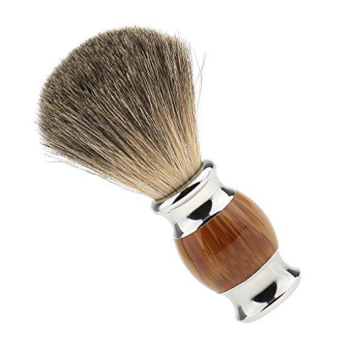 MagiDeal Rétro Blaireau à Raser Brosse de Rasage avec Poignée Longue en Alliage et Bois Shave Brush Tool pour Hommes Barbiers Coiffeurs - Bois Clair