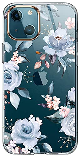 luolnh Compatible with iPhone 13 Case with Flower,for Girly Women,Shockproof Clear Floral Pattern Hard Back Cover for iPhone 13 6.1 inch 2021-Blue