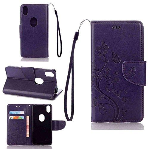 pinlu Schutzhülle Für BQ Aquaris X5 Plus (5 Zoll) Handyhülle Hohe Qualität PU Ledertasche Brieftasche Mit Stand Function Innenschlitzen Design Schmetterling Lila