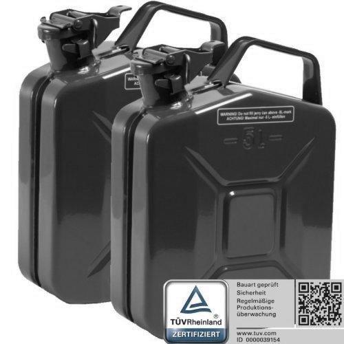 Oxid7 2X Benzinkanister Kraftstoffkanister Metall 5 Liter schwarz mit UN-Zulassung - TÜV Rheinland Zertifiziert - Bauart geprüft - für Benzin und Diesel