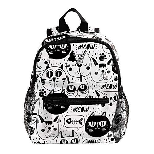 Linda Mochila Gato Negro Blanco Cute Student Backpack Design Mejor Mochila para niños Mochila Grande y Clara para Adolescentes Niñas Niños 25.4x10x30 CM