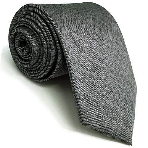 Shlax&Wing Neu Extra lang Herren Seide Geschäftsanzug Krawatte Grau Einfarbig