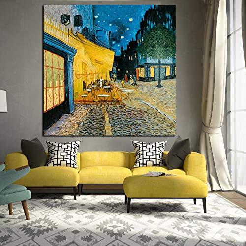 wZUN Acuarela Abstracta Van Gogh reproducción de Pintura al óleo sobre Lienzo Street Cafe Cartel Nocturno 60x60 Sin Marco