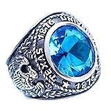 ForFox Anillo de Cristal Azul graduación Joyas con águila de Plata de Ley 925 Negro para Hombres Mujeres Talla 20