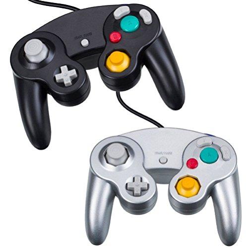 TZSUNRISE Gamecube Controller – Joystick da Gioco, 2 Confezioni cablate Gamepad per Gamecube Wii (Nero e Argento)