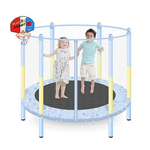 TGSC Trampolines 55 Trampoline con Baloncesto Hoop-Trampoline para niños Round Kids Mini Jumping Trampoline W/Safety Pad Enclosure Combo