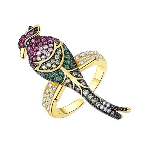 Caimeytie Anillos de Pájaros para Mujer Ajustables con 7 Cristales Multicolores