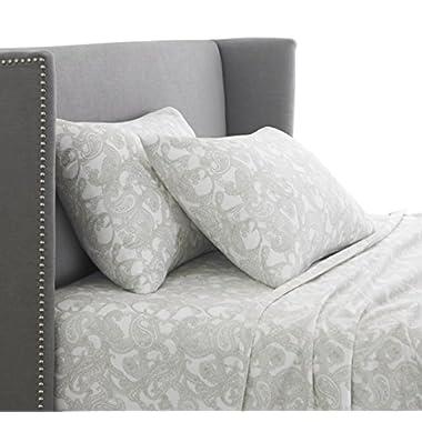 Pinzon 170 Gram Flannel Sheet Set - King, Sage Paisley