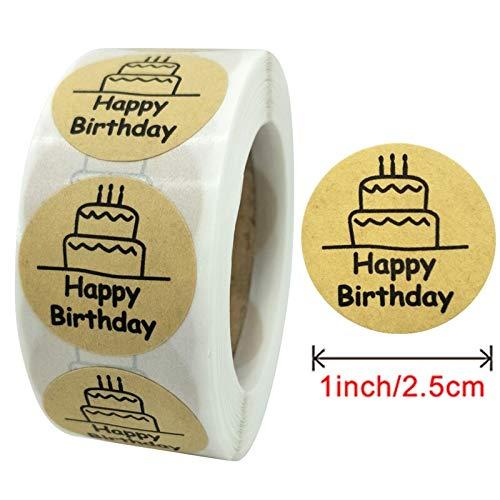 BLOUR 500 Stück 1 Rolle Happy Mail Aufkleber Geburtstagskarte Siegel Etiketten Bäckerei Brot Tags für Umschläge Bill Geschenke hausgemachte handgemachte