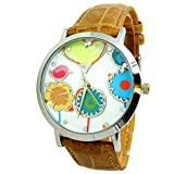 Montre Femme Camel Marron Beige Fun Original Fleurs Printemps Dessins Coeur