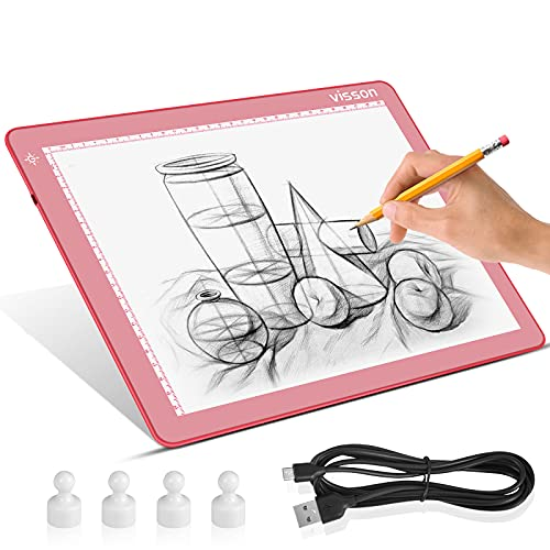 Portable A4 Tracing LED Copy Board Light pad,Light Board with Protect Frame,Ultra-Thin 3 Color Temperatures Stepless Dimming Light Box for Weedind Vinyl,Sketching,Animation,Diamond Painting,Pink