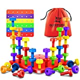 Stacking Peg Board Set Toy | 30 Pegs & Board + Free Storage Bag+ Free ColorfulBoard | STEM Color Learning Sorting Matching Game Montessori Occupational Therapy Fine Motor Skills Toddlers Boys Girls