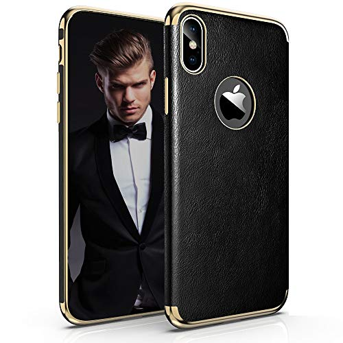 LOHASIC iPhone Xs Max Case, Thin Slim Luxury PU Leather Soft Flexible TPU Bumper Non-Slip Grip Anti-Scratch Shockproof Full Body Phone Protective Cover Cases for iPhone Xs Max (2018) 6.5 inch - Black