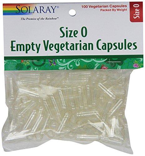 Solaray Empty Vegetarian Capsules, Size 0, 100 Count