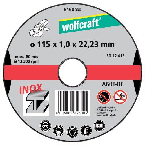 Wolfcraft 8460000 - 3 discos de cortar para amoladora para metal especifico para acero fino, Ø 115 x 1,0 x 22,23 mm