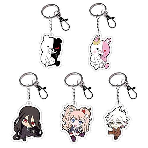 cluis Danganronpa Schlüsselanhänger, Anime Danganronpa Charaktere Figur Anhänger Puppe Metall Schlüsselbund Japanische Anime Cartoon Schlüsselringe(5PCS)