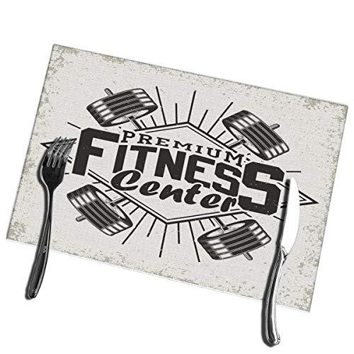 Alvahw Tischsets für Esstisch 4er-Set Vintage Grange Stamp Fitness Emblem Fitnessstudio Sport Logo Tisch Tischsets