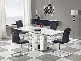 Table de salle à manger extensible en acier inoxydable Blanc brillant